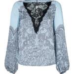 Emilio Pucci Celeste Blue Lace Detailed Silk Top
