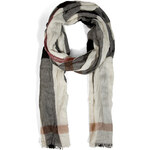 Burberry Shoes & Accessories Fine Cashmere Mega Check Crinkled Scarf in Ivory