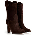 LAutre Chose Suede Western-Style Ankle Boots in Dark Brown