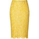 Michael Kors Lace Pencil Skirt in Chartreuse/Nude