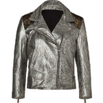 Faith Connexion Silver Embroidered Leather Jacket