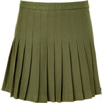 McQ by Alexander McQueen Military Green Pleated Skirt