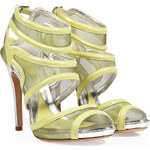 McQ Alexander McQueen Mesh/Patent Leather Sandals in Pear