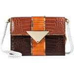 Sara Battaglia Snakeskin Triangle Bag in Maroon