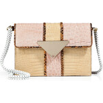 Sara Battaglia Snakeskin Triangle Bag in Powder