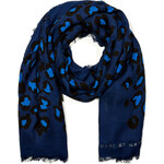 Marc by Marc Jacobs Sasha Leopard Print Scarf in Azure Blue Multi