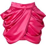 Balmain Wool-Silk Draped Side Skirt in Fuchsia