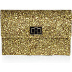 Anya Hindmarch Copper and Gold Halo Glitter Valorie Clutch