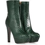 Sergio Rossi Fur Green Bi-Color Python Half Boots