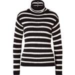 Ralph Lauren Collection Cotton-Cashmere Blend Striped Turtleneck in Black/Cream