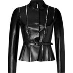 Valentino Black Leather Jacket with Cutout Trim