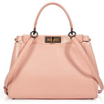 Fendi Leather Peek-A-Boo Satchel with Shoulder Strap in Milk/Pink