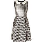 Rochas Pearl/Black Gingham Silk Satin Dress