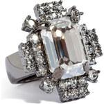 Mawi Hematite-Plated Geometric Crystal Ring