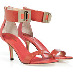 Emilio Pucci Hibiscus/Coral Patent Leather/Leather Turnlock Sandals