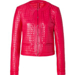 Roberto Cavalli Quilted Leather Jacket in Coral