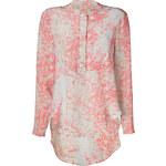 Suno Rose/Swan Floral Print Silk Top