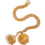 Chanel Vintage Jewelry Gold-Plated Hat/Purse Pendant Necklace