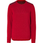 PS by Paul Smith Mixed Knit Crewneck Pullover in Red