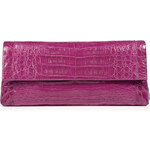 Nancy Gonzalez Bright Dahlia Crocodile Fold-Over Clutch
