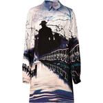 Mary Katrantzou Silk Shirtdress in Freelago Ice