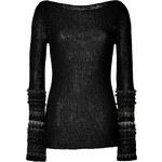 Donna Karan Black Open Knit Pullover with Metallic Trim