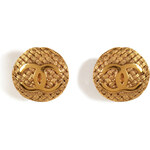 Chanel Vintage Jewelry Gold-Plated Weave Round Clip Earrings