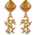 Chanel Vintage Jewelry Gold-Plated Word Drop Earrings