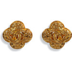 Chanel Vintage Jewelry Gold-Plated CC on Scallop Coin Earrings
