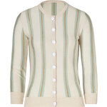 LWren Scott Cream/Water Striped Cashmere Cardigan