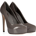 Le Silla Patent Leather Overlasted Platform Pumps in Smoke