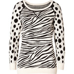 Marc by Marc Jacobs Cotton Blend Intarsia Knit Shebra Pullover in Black Multi