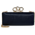 Diane von Furstenberg Haircalf Sutra Clutch in Navy