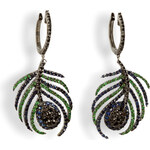 Nikos Koulis Black Rhodium Paradise Peacock Earrings