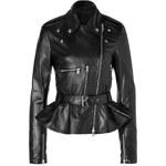 McQ Alexander McQueen Leather Moto Jacket with Peplum in Black