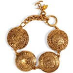 Chanel Vintage Jewelry Gold-Plated Cambon Coin Bracelet