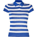 Ralph Lauren Black Label Azure Blue/White Striped Silk Knitted Polo Shirt