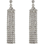 R.J.Graziano Silver-Toned Crystal Drop Earrings