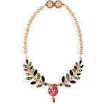 Mawi Rose Gold-Plated Pearlized Necklace with Ornate Leaf