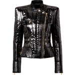 Balmain Glossy Quilted Jacket in Black