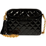 Chanel Vintage Jewelry Quilted Patent Leather Tassel Bag in Black