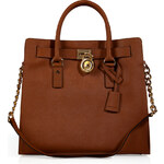 Michael Michael Kors Leather Hamilton Tote in Luggage