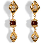 Chanel Vintage Jewelry Gold-Plated Jewel and Gripoix Earrings