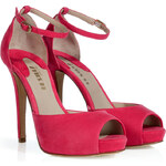 Le Silla Cherry Pink Suede Platform Peep-Toe Sandals