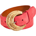 Ralph Lauren Black Label Coral Suede Leather Belt with Braided Buckle