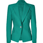 Balmain Emerald One Button Stretch Cotton Blazer