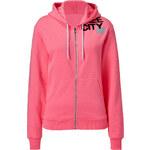 Free City Glo-Pink Zip Hoodie with Logo Print