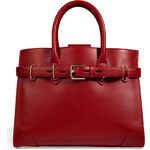Ralph Lauren Collection Leather Medium Spectator Tote in Deep Red