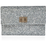 Anya Hindmarch Silver Glitter Fabric Valorie Clutch