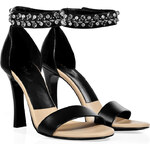 Chloé Black Leather Jeweled Ankle Strap Sandals